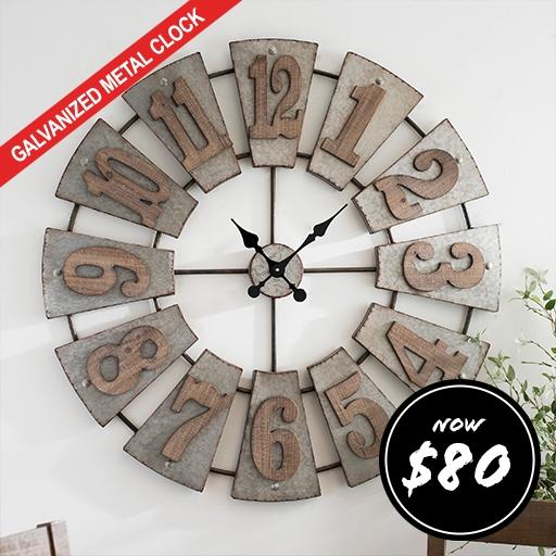 Morgan Galvanized Metal Clock Now $80 - Shop Now