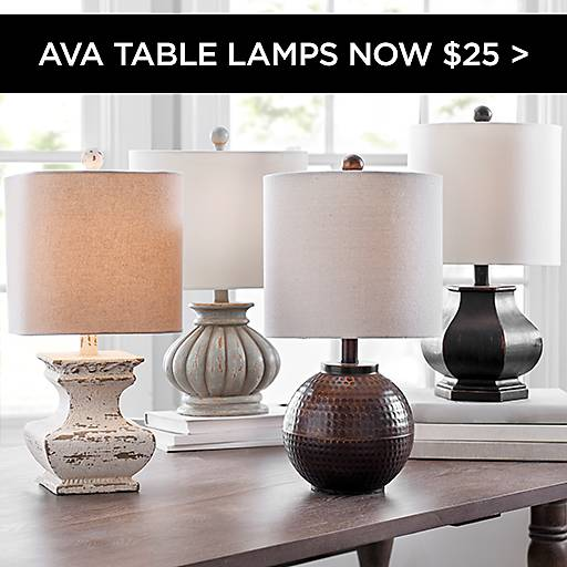 Ava Table Lamps Now $25