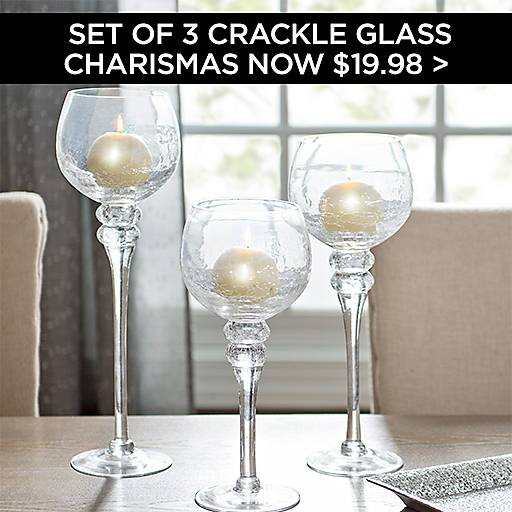Set of 3 Crackle Glass Charismas Now $19.98