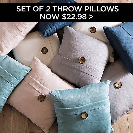 Set of 2 Textured Throw Pillows Now $22.98