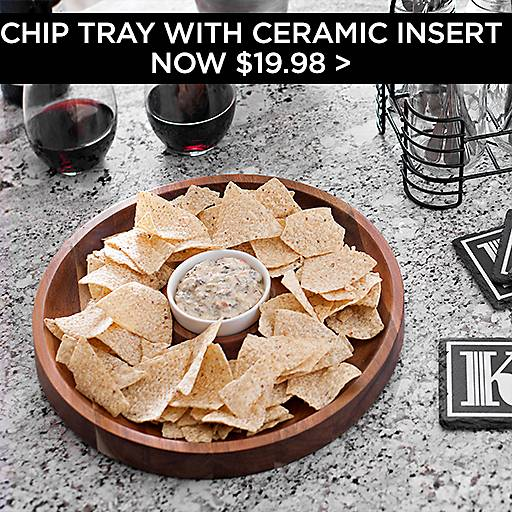 Wood Chip & Dip Tray with Ceramic Insert Now $19.98
