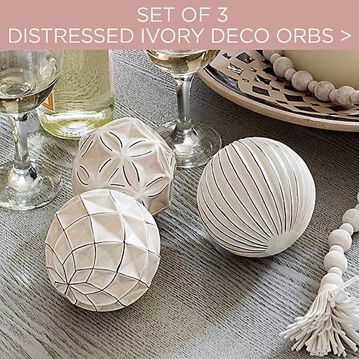 Set of 3 Distressed Ivory Deco Orbs