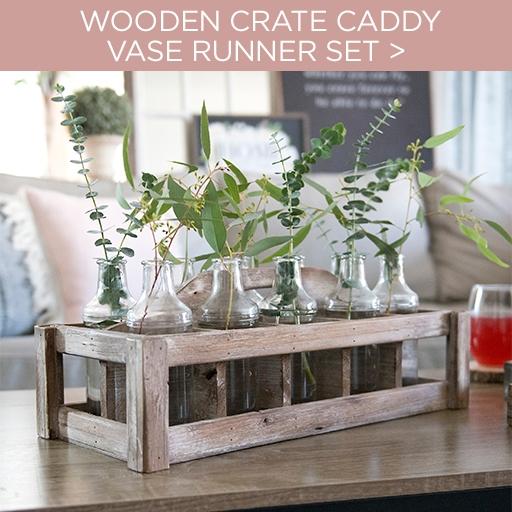 Wooden Crate Caddy Vase Runner Set