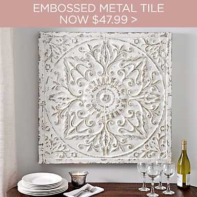 $15 Off Aria Distressed Cream Embossed Metal Tile