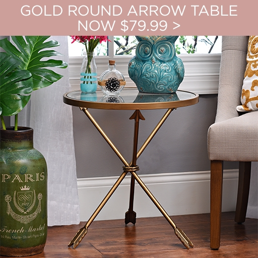Gold Round Arrow Table Now $79.98