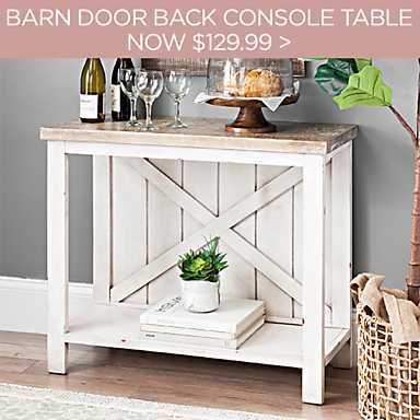 Finley Cream Barn Door Back Console Table Now $129.99