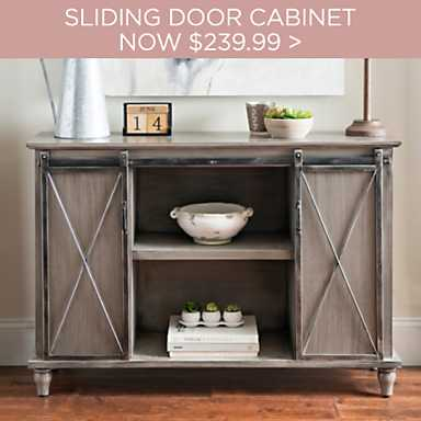 Gray Mackenzie Sliding Door Cabinet Now $239.99