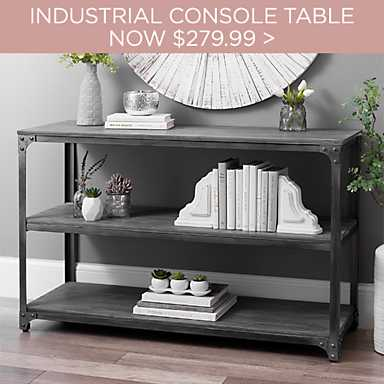 Everest Gray Distressed Industrial Console Table Now $279.99