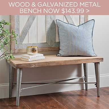 Wood Top Galvanized Metal Bench Now $143.99