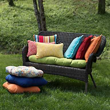 Colorful outdoor cushions in a variety of sizes