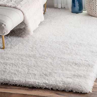 White Iliza Shag Area Rug