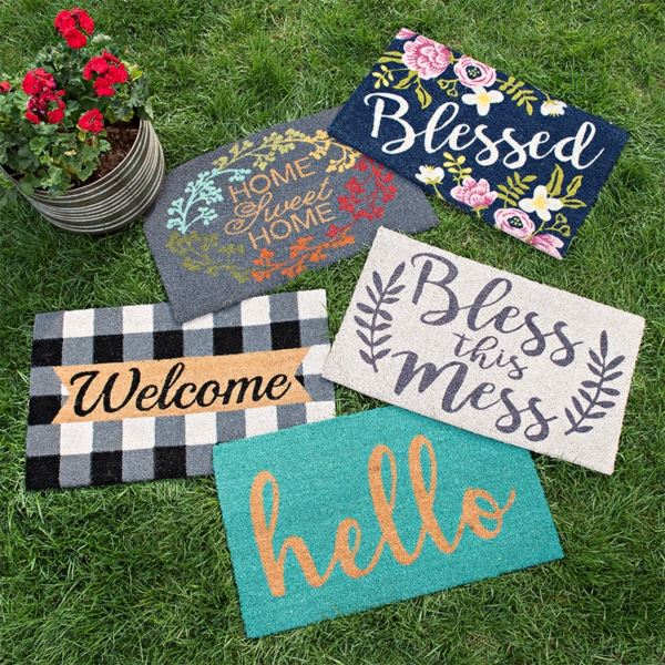 A large selection of outdoor mats