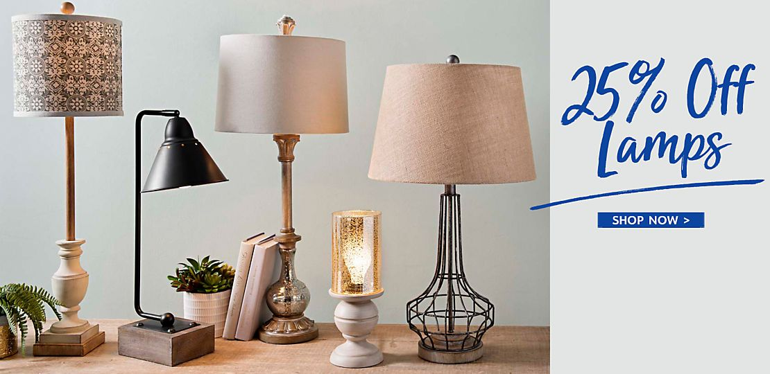 25% off lamps - Shop Now
