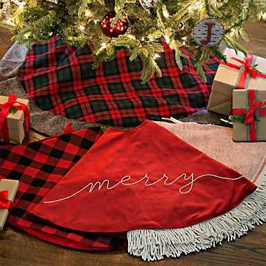 A veriety of Christmas tree skirts