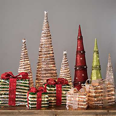 Stylized pre-lit Christmas trees and packages for decorating
