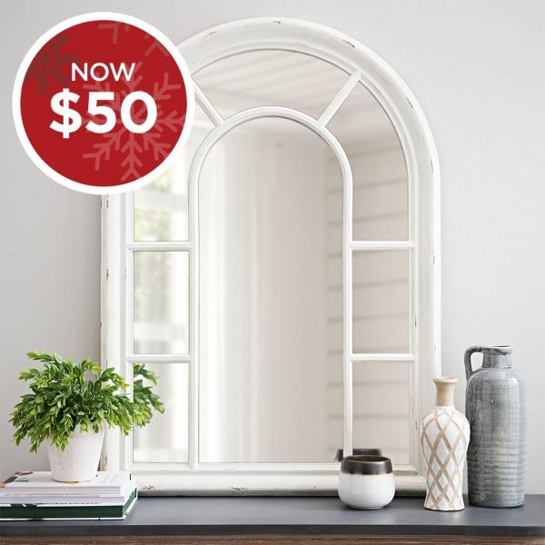Jordana Distressed White Wood Arch Mirror