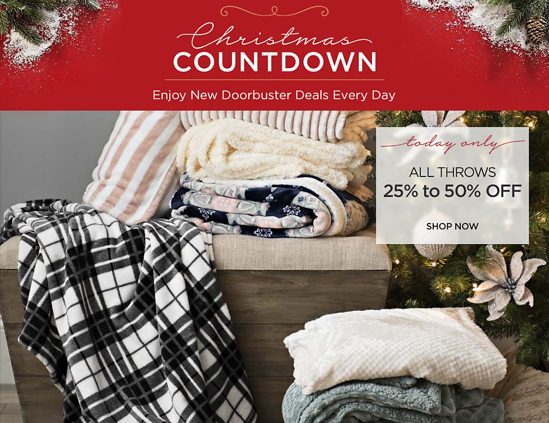 Christmas Countdown - New Deals Everyday - Today Only - 25% to 50% Off All Throws - Shop Now