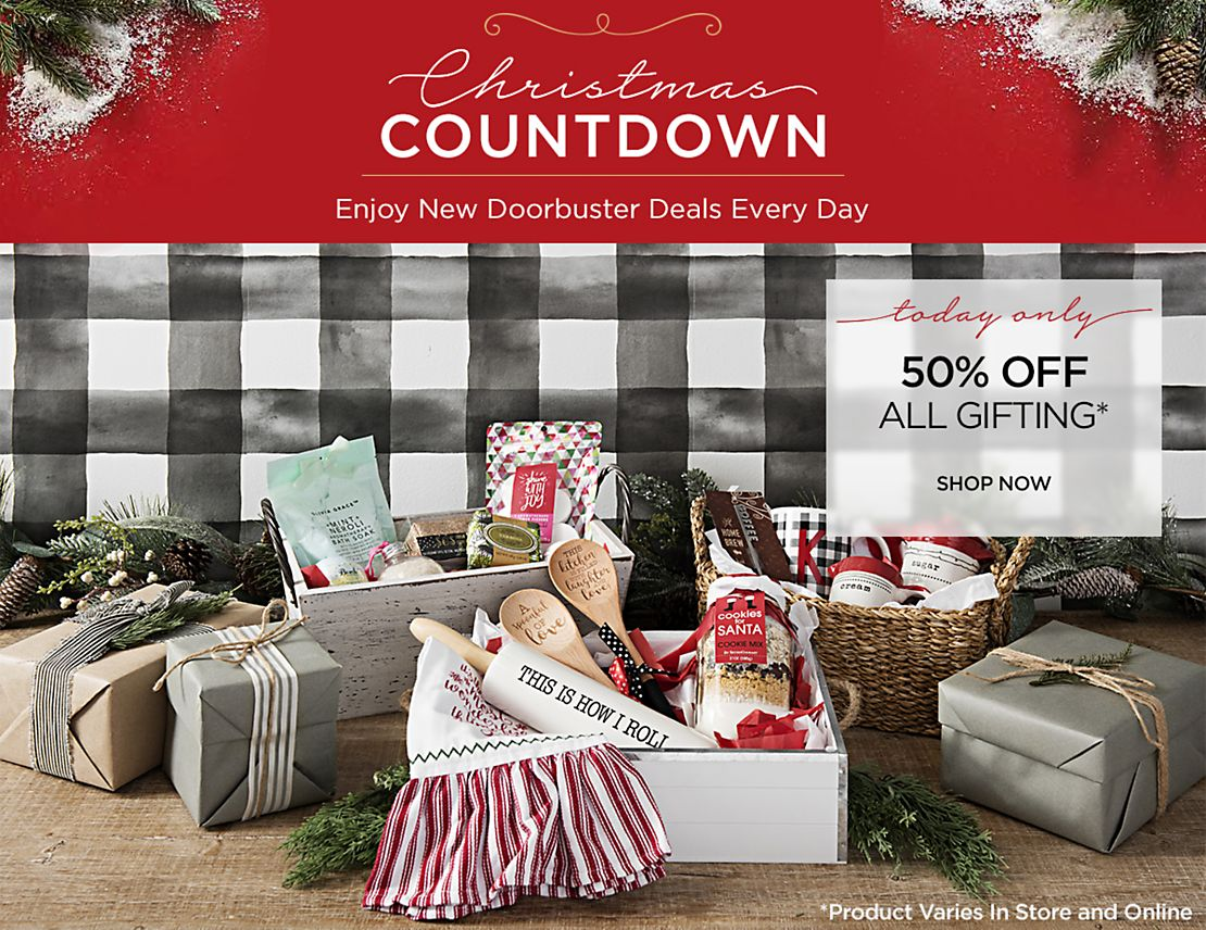 Christmas Countdown - New Deals Everyday - Today Only - 50% Off All Gifting  - Shop Now