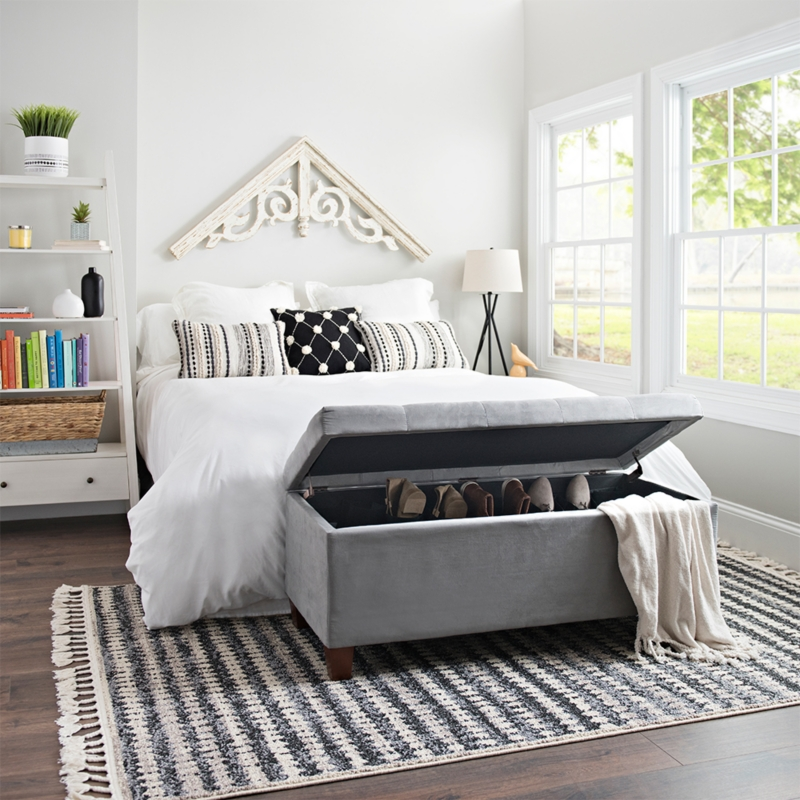 Amelia Tufted Gray Shoe Storage Ottoman Bench