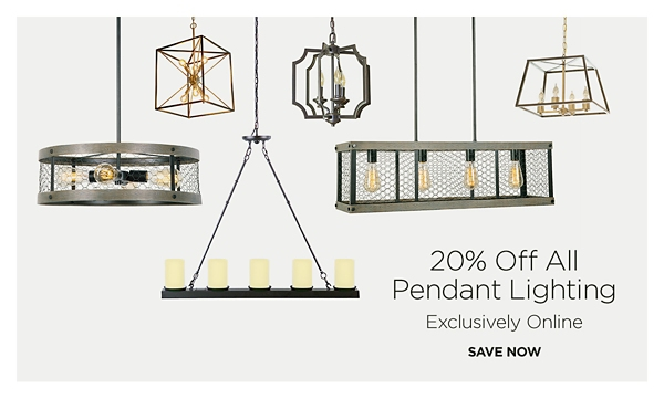 Exclusively Online - 25% Off Pendant Lighting - Shop Now