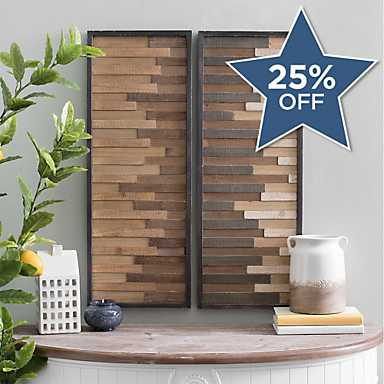 Natural Wood Plank Panel Wall Plaques