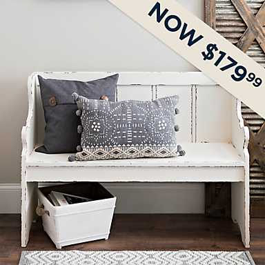 Distressed Ivory Pew Bench - Now $179.99