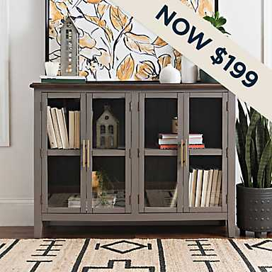 Dark Gray Glass Window Cabinet with Gold Hardware - Now $199