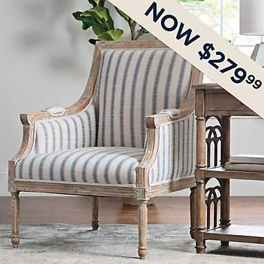 McKenna Blue Striped Accent Chair - Now $279.99