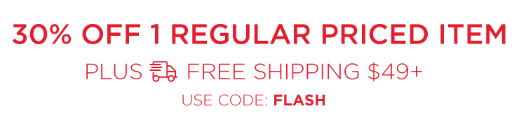 30% any one regular price item - Plus free shipping on orders of $49 or more - Use code JINGLE