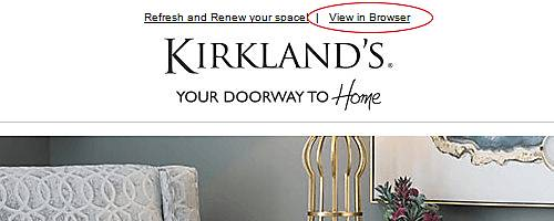 Link at the top opens the Kirkland's email in an Internet browser - Yippy Ti Yi Yo Git Along Little Dogies!.