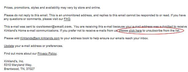 Unsubscribe link location in Kirkland's email.