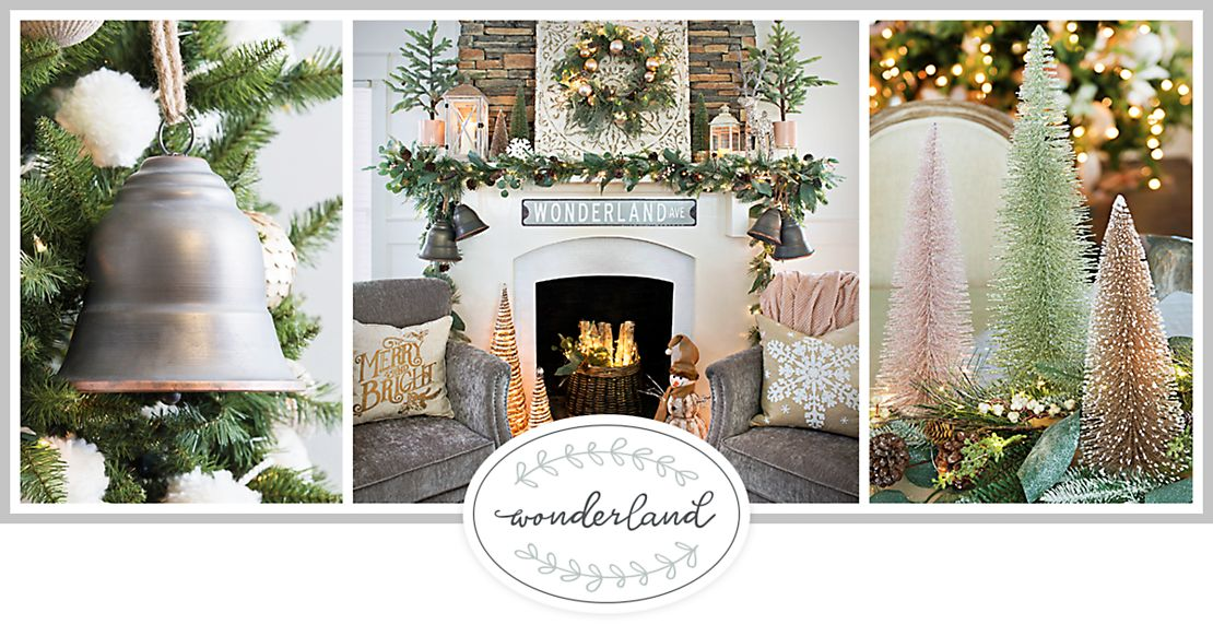 nature shines this christmas with our wonderland collection shimmering shades of gold combine with mixed metal details and frosted accents to create a - Winter Wonderland Christmas Decorations