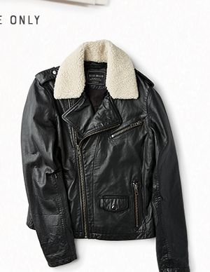 Sherpa Collar Leather Moto Jacket