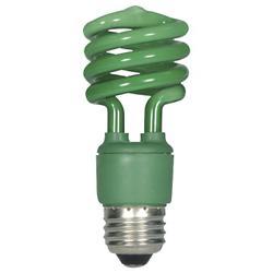 13W 120V T2 E26 Mini Spiral CFL Green Bulb