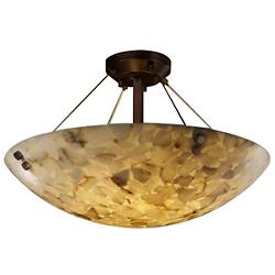 Alabaster Rocks! Semi-Flush Bowl Suspension with Finials