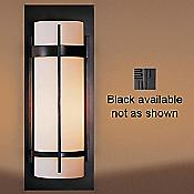 Banded Aluminum Outdoor Sconce (Small/Black/Opal) - OPEN BOX