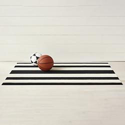 Bold Stripe Shag Door Mat (Black/White) - OPEN BOX RETURN