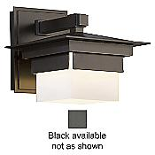 Bungalow Outdoor Wall Sconce (Opal/Black/Small) - OPEN BOX