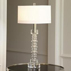 Clear Glass Ribbed C/S Table Lamp