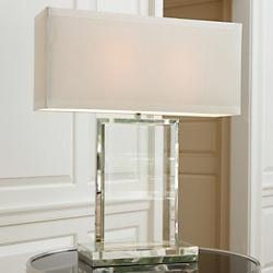 Crystal Slab Table Lamp (Ivory Silk) - OPEN BOX RETURN