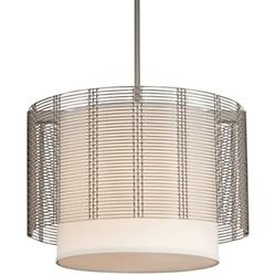 Downtown Mesh Drum Chandelier with Fabric Shade
