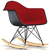 Eames Upholstered Molded Fiberglass Armchair - Rocker Base