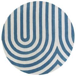 Geometric Blue/Cream Tufted Pile Rug