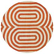 Geometric Pumpkin/Cream Tufted Pile Rug