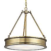 Harbour Point Drum Pendant (White/Gold) - OPEN BOX RETURN