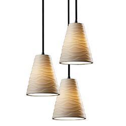 Limoges 3 Light Cluster Cone Pendant