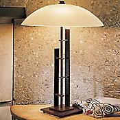 Metra Double Table Lamp With Glass (Mahogany) - OPEN BOX