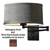 Simple Swingarm Wall Sconce (Mahogany/TerraSuede) - OPEN BOX