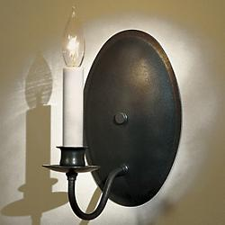Single Light On Oval Back Wall Sconce (Iron) - OPEN BOX