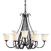 Sweeping Taper Nine Arms Glass Chandelier